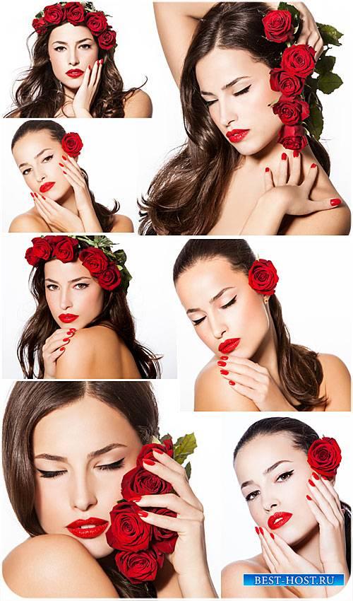 Девушка с красными розами - сток фото