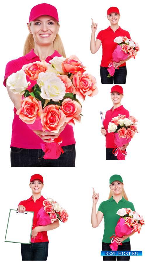 Доставка цветов, девушка с цветами - сток фото