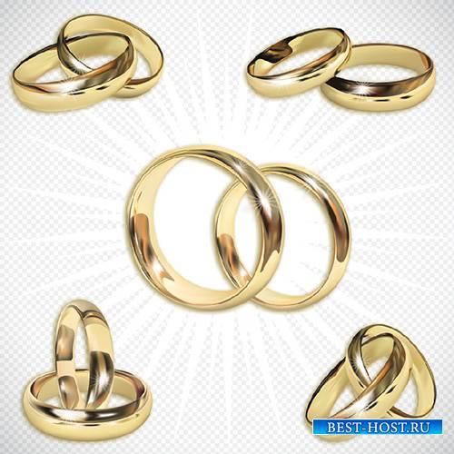 Клипарт- Золотые Свадебные обручальные кольца на прозрачном фоне