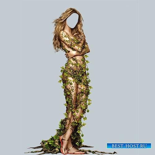 Шаблон для девушек - Мисс весна окутана листками