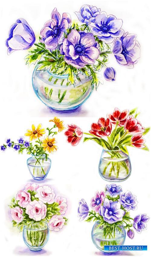 Красивые цветы в вазах, вектор