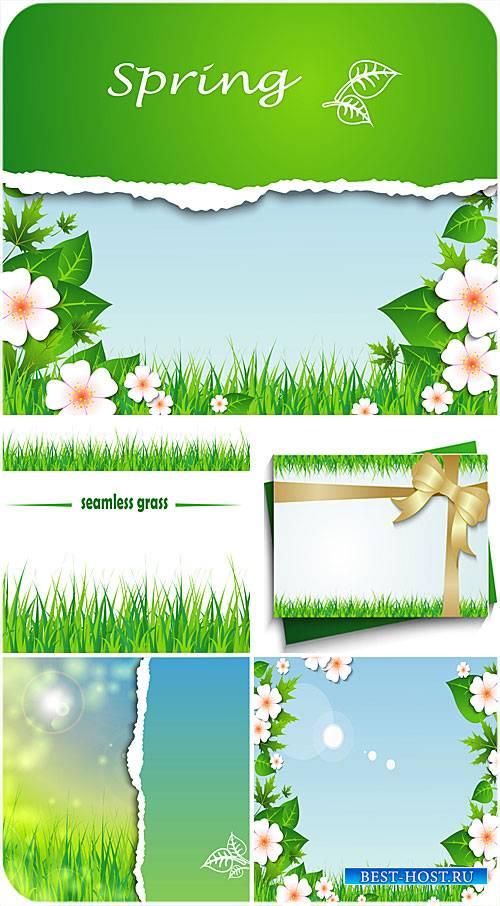 Весенние векторные фоны, цветы, трава