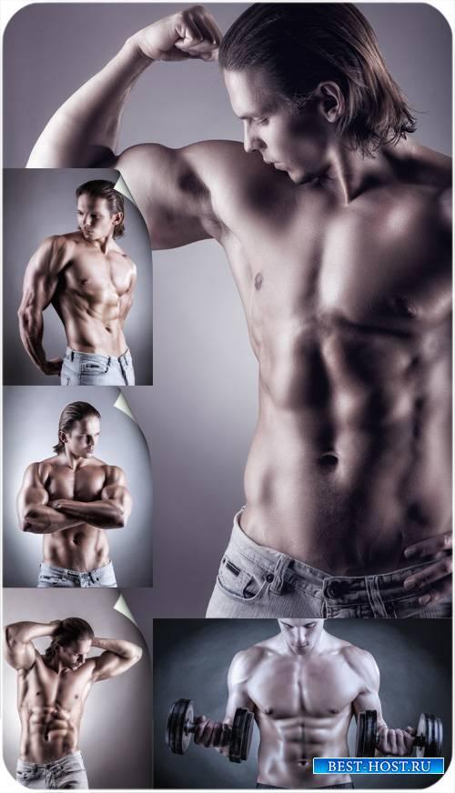 Мужчина спортивного телосложения, упражнение с гантелями - сток фото