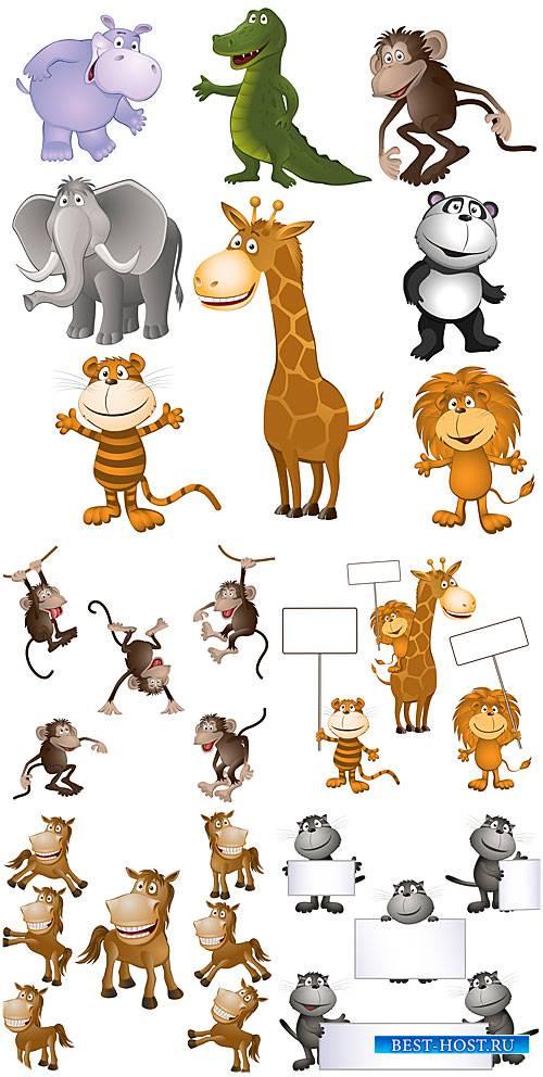 Животные с табличками в векторе, лошадки, обезьяны, кошки