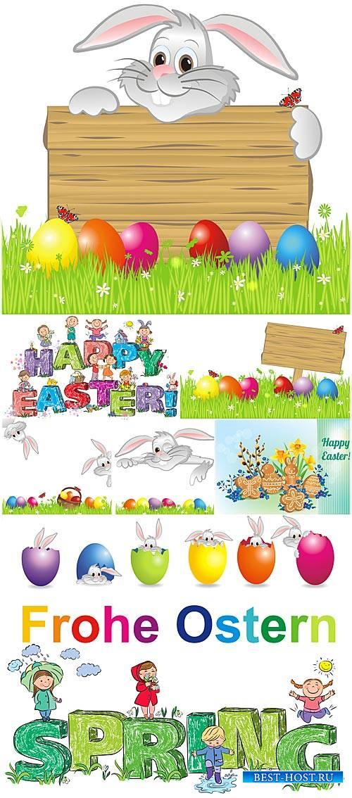 Пасха в векторе, пасхальный кролик с табличкой, весна