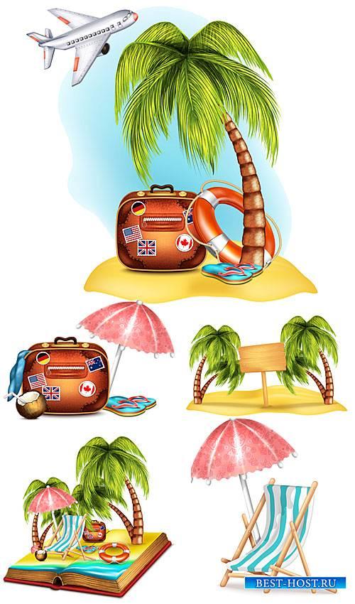 Путешествие на райский уголок, отпуск - вектор