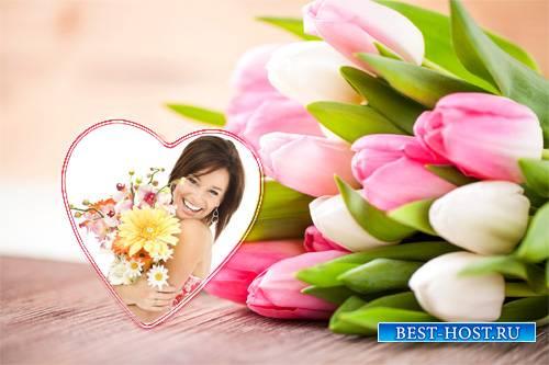 Женская рамка - Букет цветов