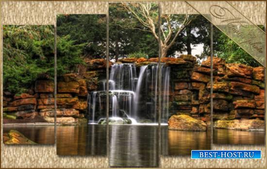 Природная PSD модульная картинка - Прекрасный водопад