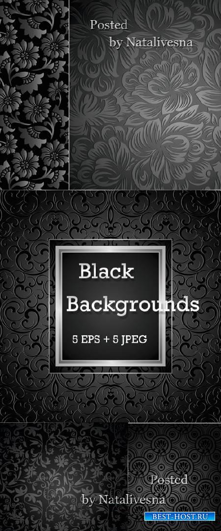 Черные цветочные  фоны в Векторе