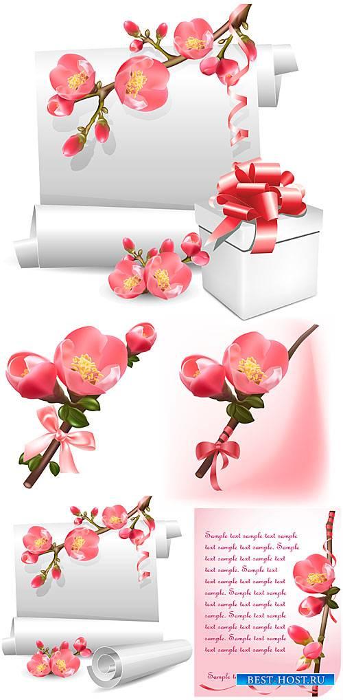 Весенние цветы и белый свиток бумаги в векторе