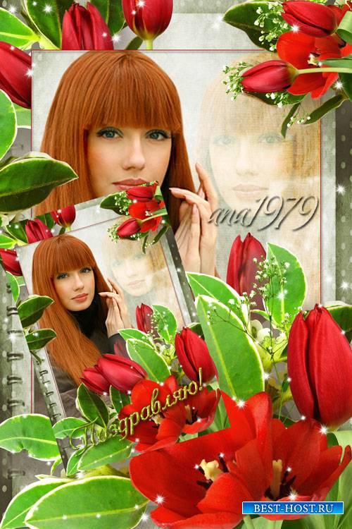 Рамка для фотошопа - Букет тюльпанов