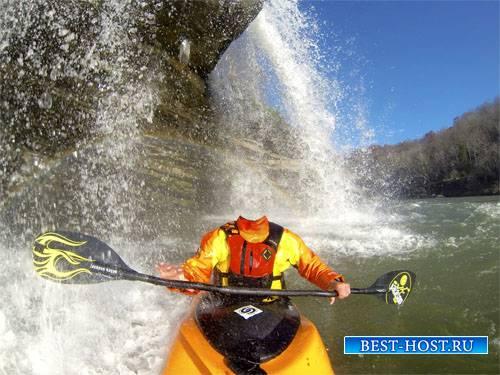 Шаблон мужской - Гребля на байдарке под водопадом