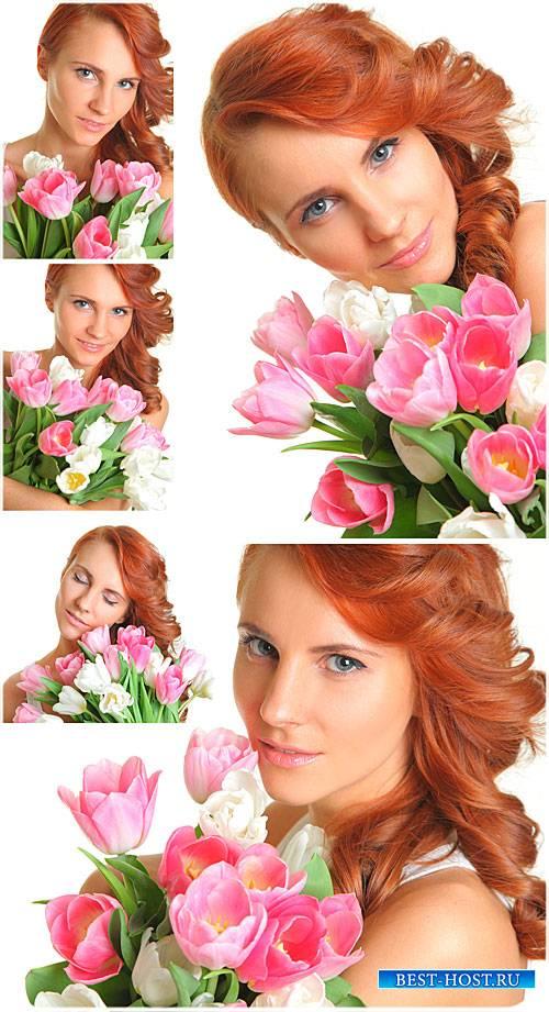 Девушка с тюльпанами - сток фото