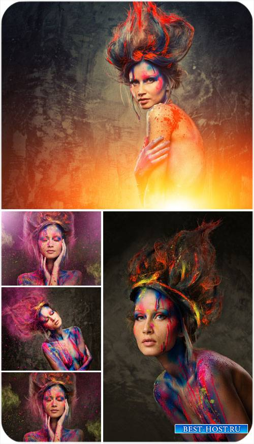 Девушка в краске, креативный сток фото