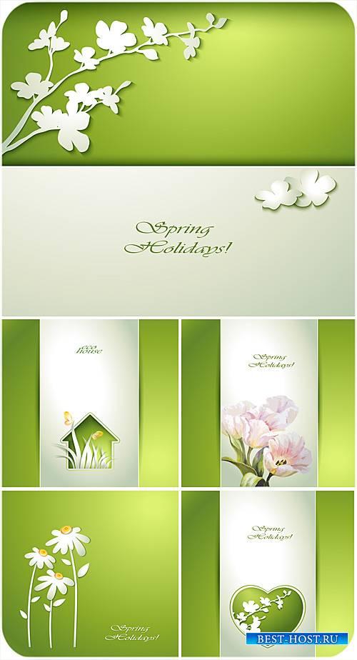 Весенние векторные фоны с цветами