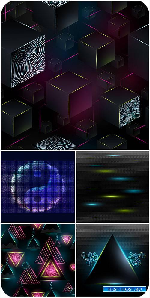 Темные векторные фоны с сияющей абстракцией