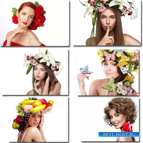 Клипарты для фотошопа - 12 девушек с цветами