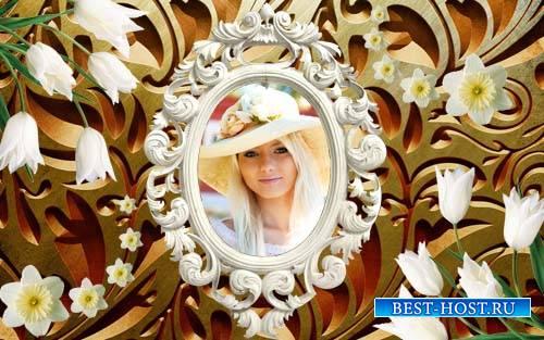 Рамка для фотошопа - Восхитительный винтаж и нежные весенние цветы