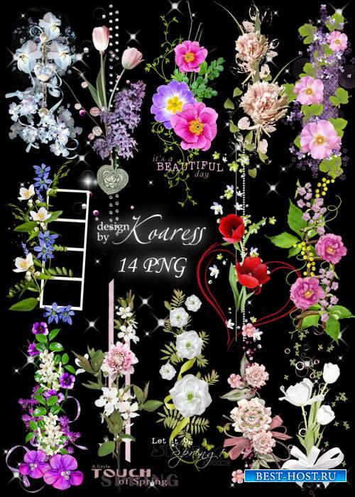 Набор цветочных png кластеров для фотошопа на прозрачном фоне - Весенняя фе ...