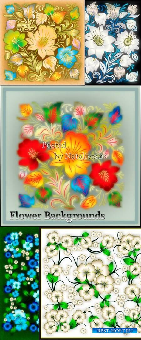 Цветочные  фоны в Векторе – Нежный цветок