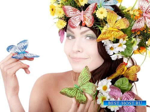 Шаблон для Photoshop - Девушка в красивом веночке с бабочками