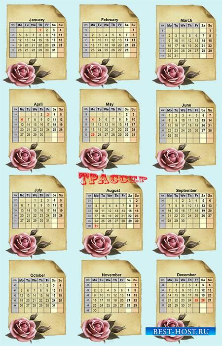 ] Календарная сетка на 2015 год – Свиток и алая роза