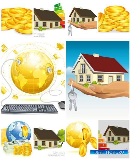 Бизнес вектор, покупка и продажа дома, деньги