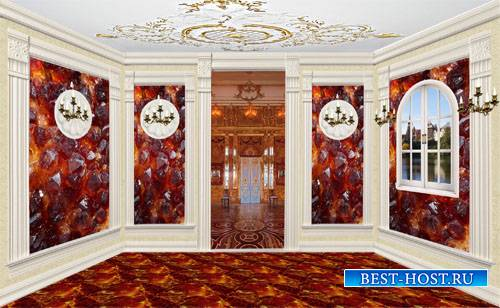Клипарт Кукольный дворец 07Янтарная комната с видом на зал.