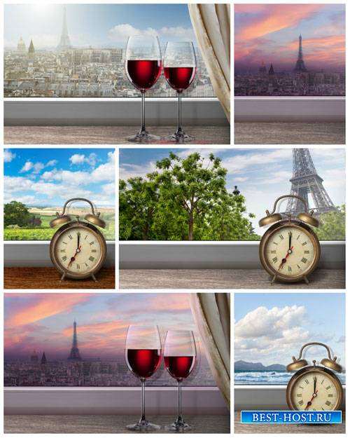 Романтичный вид за окном, париж - сток фото
