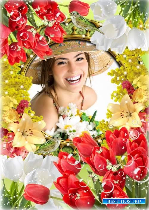 Яркая весенняя цветочная рамочка - Прекрасный день