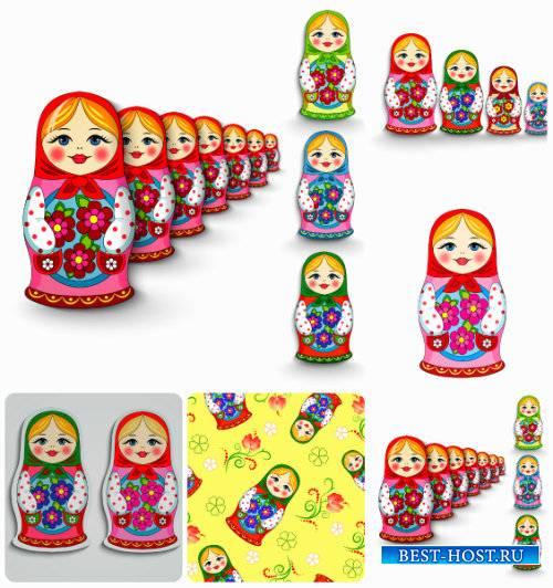 Матрешка, русская деревянная игрушка в векторе