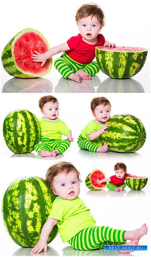 Маленький ребенок с арбузом - сток фото / Small child with watermelon