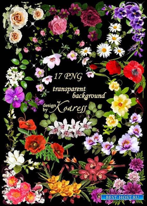 Цветочные уголки для фотошопа в формате png - Весна идет