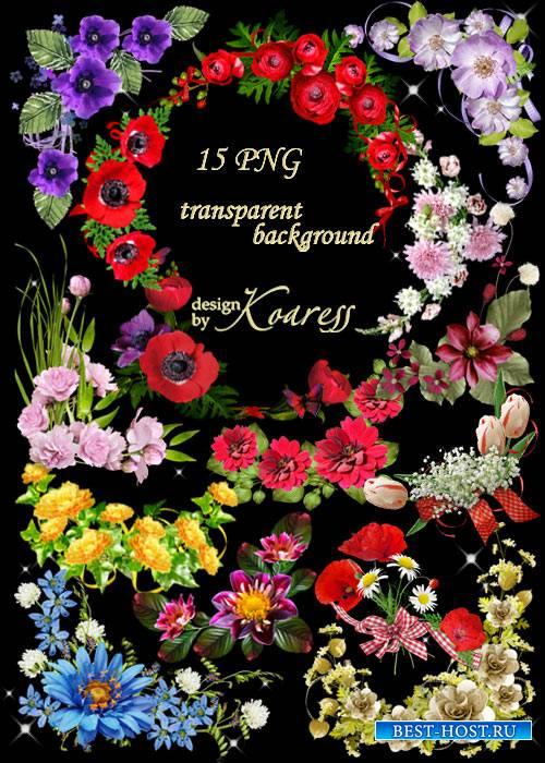 Набор цветочных уголков для дизайна на прозрачном фоне - Предчувствие весны