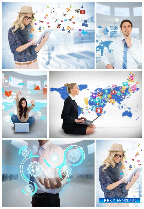 Люди и современные технологии / People and modern technology - Stock photo