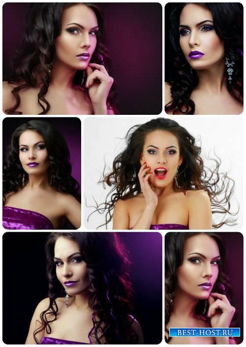 Стильная девушка, красивый макияж / Stylish girl, beautiful makeup - Stock  ...