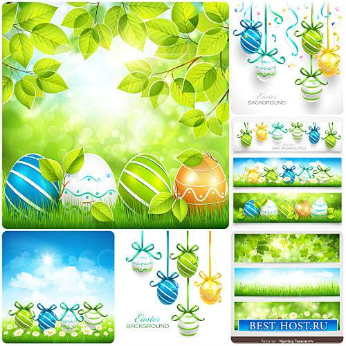 Пасха, весенние фоны / Easter, spring background with Easter eggs, vector