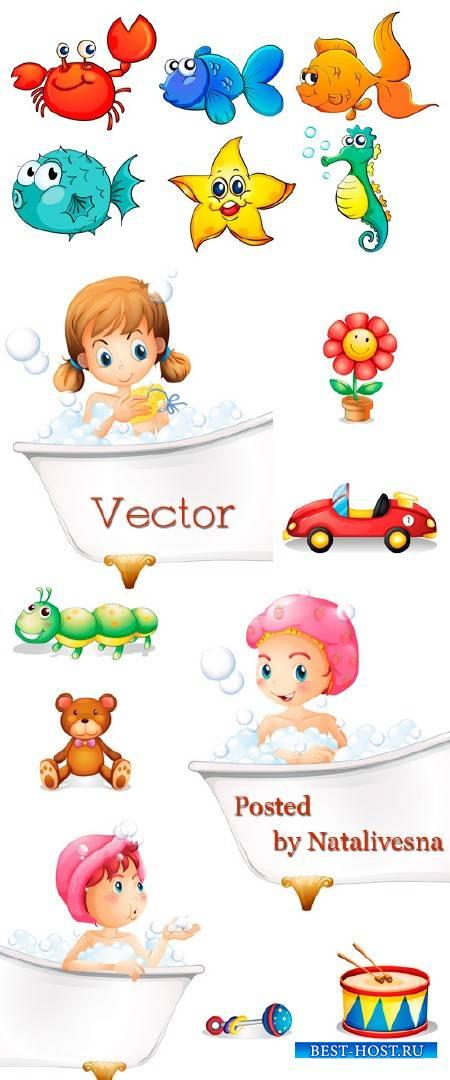 Девочки в ванне с пузырями и игрушками в Векторе