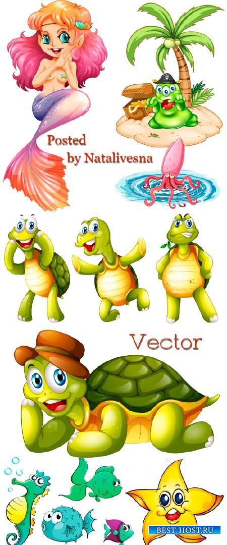Забавные черепахами и персонажи мультиков в векторе