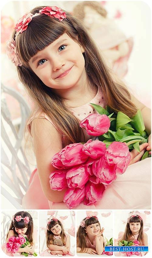 Девочка с тюльпанами / Girl with tulips, stock photos