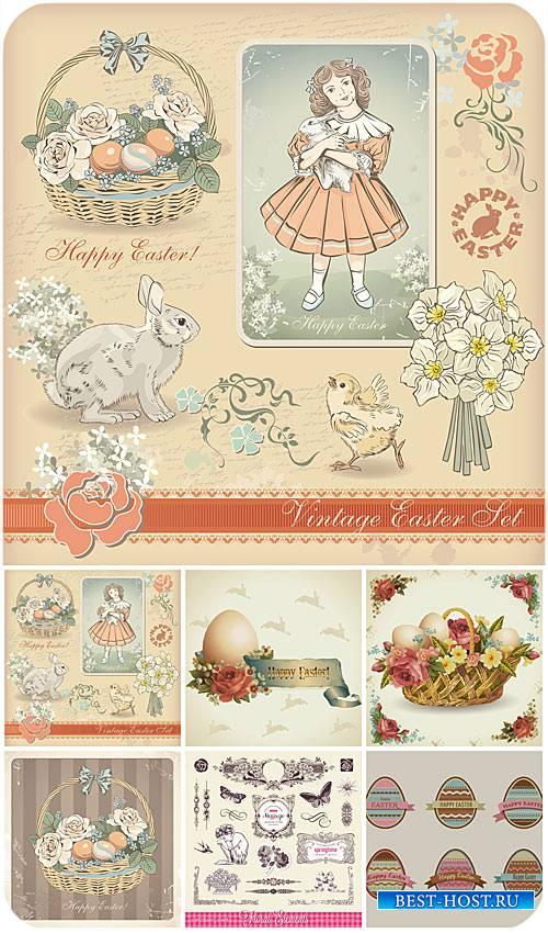 Пасхальный винтажный набор в векторе / Easter vintage set vector