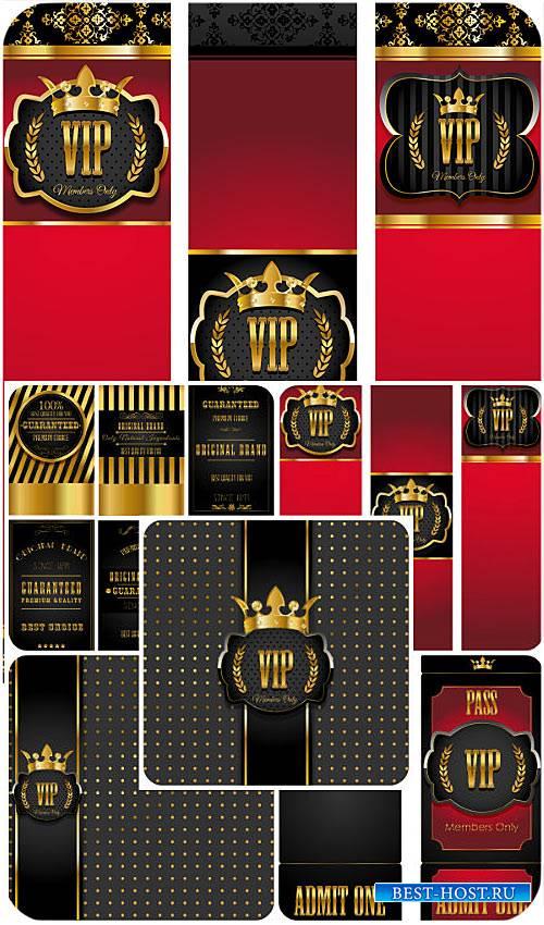 Вип карточки красного и черного цвета, золотой декор в векторе / VIP card i ...