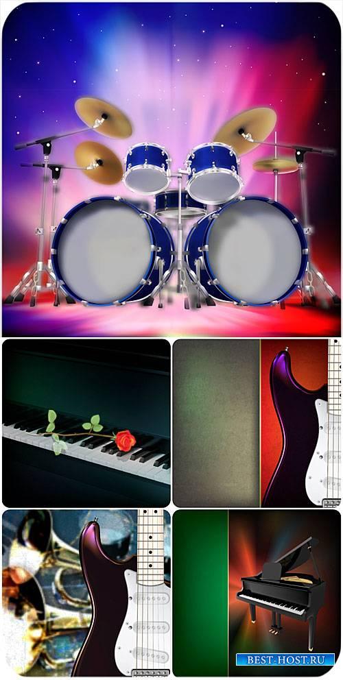 Музыкальные векторные фоны, гитара, рояль / Vector backgrounds music, guita ...
