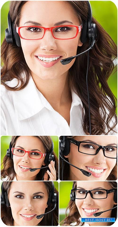 Девушка оператор, красивая девушка / Girl operator, beautiful girl - Stock  ...