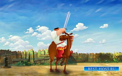 Шаблон для фотошопа - Богатырь с мечом на коне