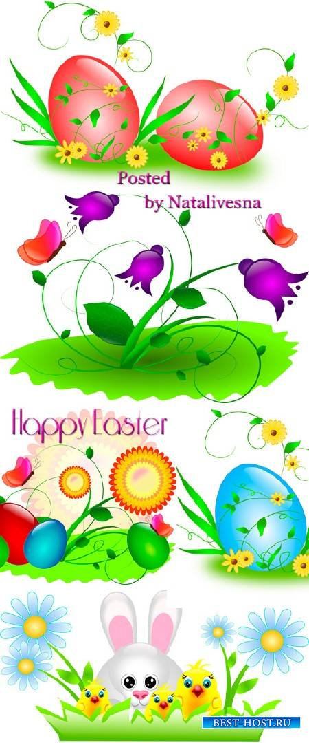 Пасхальный кролик и цветочки на белом фоне