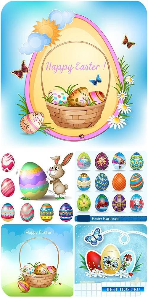 Пасхальная корзина, кролик и пасхальные яйца в векторе / Easter basket, bun ...