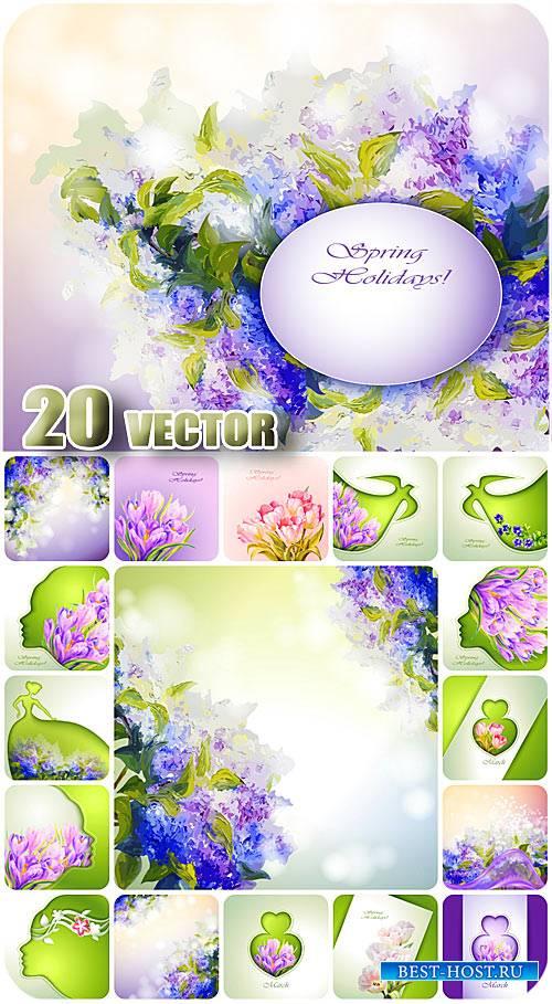Весенние фоны, сирень, крокусы и тюльпаны в векторе / Spring backgrounds ve ...