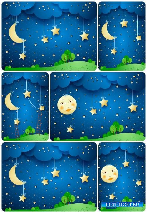 Ночное небо в векторе, луна, солнце / Vector night sky, the moon, the sun