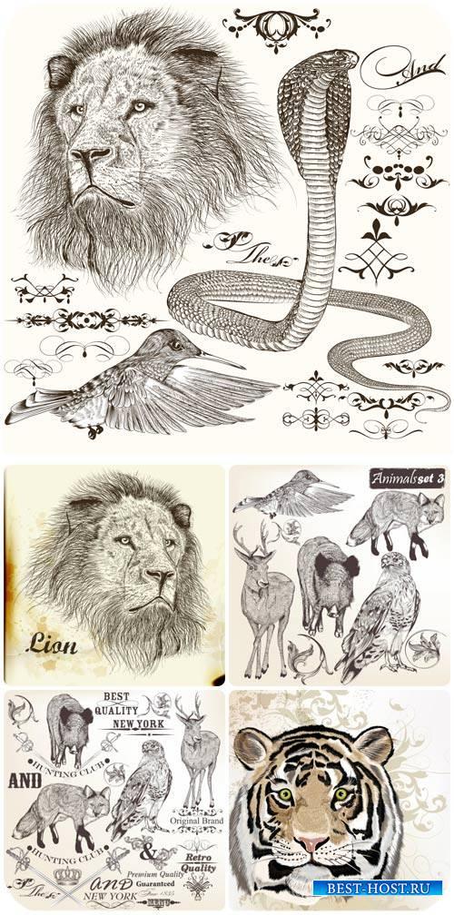 Животные, декоративные элементы в векторе / Animals, decorative elements ve ...